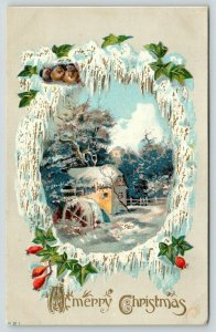 Christmas~Birds Huddled on Gold Leaf Snow Portal~Old Mill~Embossed~1908 PC