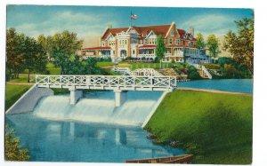 Dallas Country Club, Clubhouse & Waterfall Dallas Texas Postcard