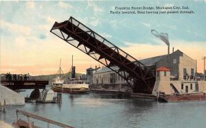A58/ Michigan City Indiana In Postcard c1910 Franklin Street Bridge Boat Lowered