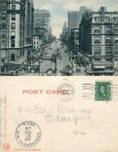 MILWAUKEE WI WISCONSIN STREET 1908 UNDIVIDED ANTIQUE POSTCARD