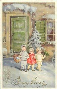 Happy New Year Children Winter Fantasy Luck Shamrocks Bonne Annee