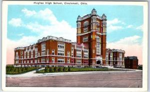 Cincinnati, Ohio Postcard HUGHES HIGH SCHOOL Street View Kraemer c1930s Unused