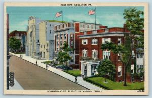 Postcard PA Scranton Club Row Elks Club Masonic Temple Scranton Club Linen J20