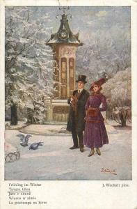 AK 1918 Artist J. Wachutt - Le printemps en hiver