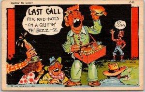 c1940s RAY WALTERS Postcard Hot Dog Vendor Curteich Linen General Comics C-35