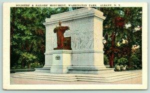 Albany New York~Washington Park~Soldiers' & Sailors' Monument~1940s Postcard
