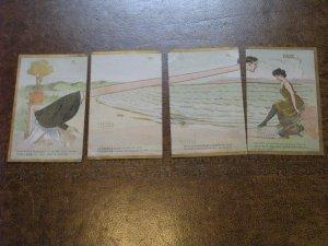 US Postcard Used 4 1910 Postmark Serial Postcard Neck Stretch Girl Rose Co