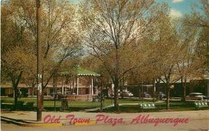 Albuquerque New Mexico~Old Town Plaza~Wrought-Iron Bandstand 1950's Postcard