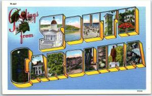 SOUTH CAROLINA Large Letter Postcard Asheville PC Linen c1950s Unused