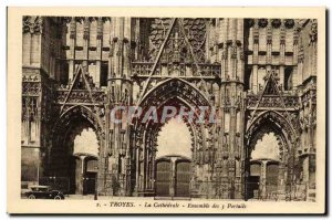 Old Postcard Troyes The Cathedral Ensemble From 3 Portals