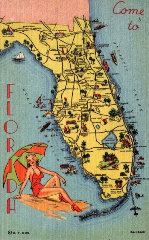 Florida Map Showing Cities Curteich
