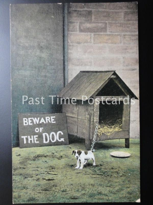 BEWARE of the DOG showing Little Dog - Old Postcard by Bamforth & Co 1299