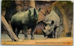 Detroit, Michigan Postcard RHINOCEROS Exhibit at Zoological Park Linen 1940s