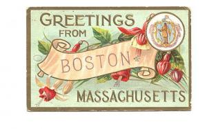 Greetings from Boston, Massachusetts, State Crest, JB Co, Series 899, Flag Ca...
