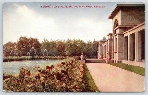 Chicago Illinois~Douglas Park~Fountain & Pavilion~Flower Pots & Beds~c1910