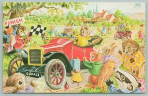 Racey Helps Fantasy~The Old Crocks Race~Dressed Bunnies Drive Red Car To Finish