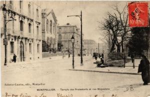 CPA  Montpellier - Temple des Protestants et rue Maguelone   (518797)