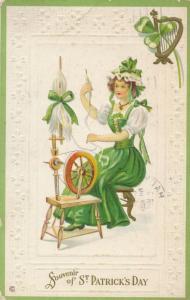 St Patrick's Day Greetings - Irish Lady at Spinning Wheel - pm 1922 - DB
