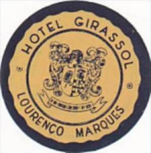 MOZAMBIQUE LOURENCO MARQUES HOTEL GIRASSOL VINTAGE LUGGAGE LABEL
