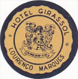 MOZAMBIQUE LOURENCO MARQUES HOTEL GIRASSOL VINTAGE LUGGAGE LABEL