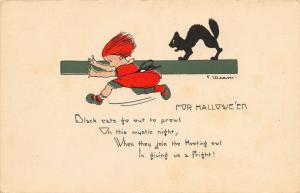 Halloween~Art Deco~Black Cat Out to Prowl~Back Up~Kid in Fright~F Weaver~1926