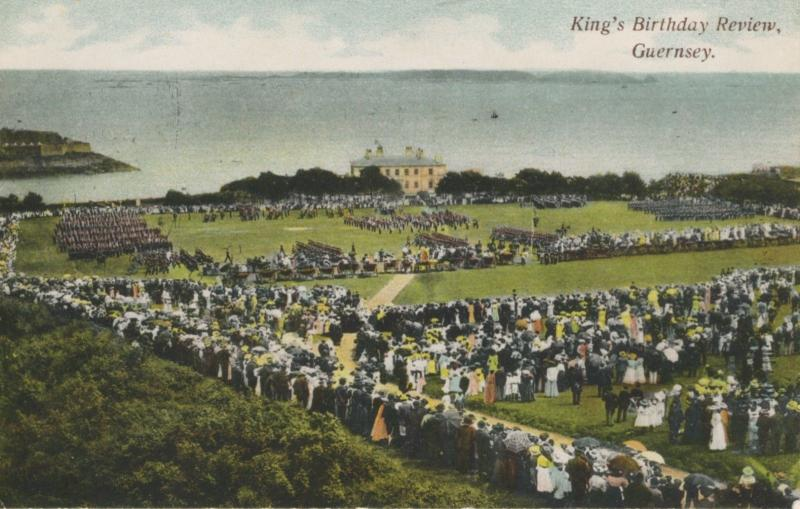 King's Birthday Review Guernsey English Channel Vintage Postcard D21