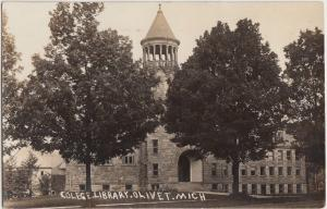 Michigan Mich RPPC Real Photo Postcard 1910 OLIVET College Library