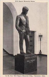 Oklahoma Claremore Will Rogers Memorial Statue In the New Will Rogers Memoria...