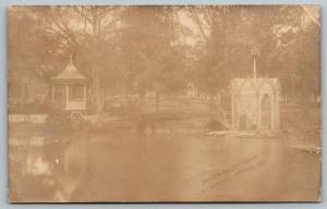 Ironton Missouri~TR Goulding Park on Castle Grounds~Fish Pond Gazebos~1908 RPPC