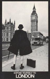 Streaker On London Bridge Bus Flasher Risque Postcard