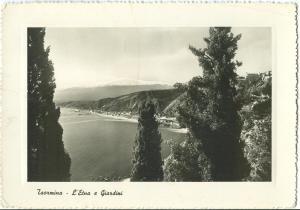 Italy, Taormina, L'Etna e Giardini, 1954 used RP Postcard