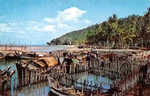 Malaysia Old Vintage Antique Post Card Fishing Village on North Coast Penang ...