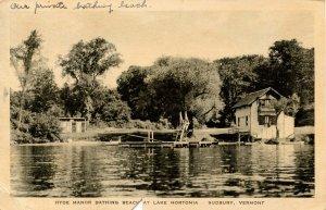 VT - Sudbury. Lake Hortonia, Hyde Manor Bathing Beach.  (card has been cut)
