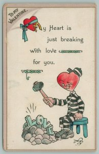 Artist Dwig~Valentine~Prisoner Heart Breaks Rocks And Love With Sledgehammer