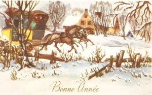 Snow scene with coach and horses  Nice vintage French New Year Greetings PC