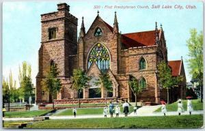 Salt Lake City, Utah Postcard FIRST PRESBYTERIAN CHURCH Building View c1910s
