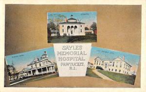 Pawtucket Rhode Island Sayles Memorial Hospital Multiview Postcard K93048