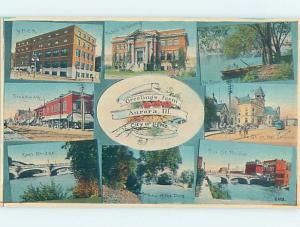 Divided-Back EIGHT SCENES ON ONE POSTCARD Aurora - Near Chicago IL H8932