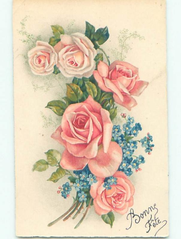 Very Old Foreign Postcard BEAUTIFUL FLOWERS SCENE AA4941