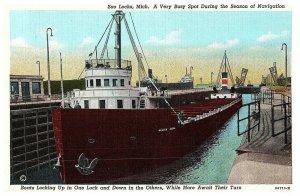 Enviar Encendido St. Mary's River Of Sault Sainte Marie, Michigan Tarjeta Postal