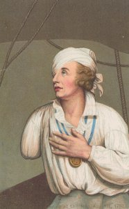 Bust Of Lord Nelson in 1799 Antique Painting Postcard