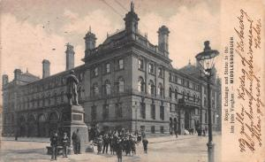 Royal exchange and Statue of John Vaughan, Middlesborough, England, Used in 1904