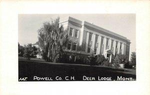 LPSS73 Deer Lodge Montana Powell Co. Court House Postcard RPPC