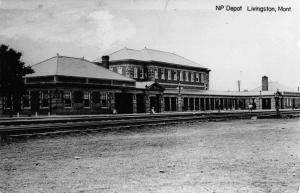 Livingston Montana Northern Pacific train depot real photo pc Z23735