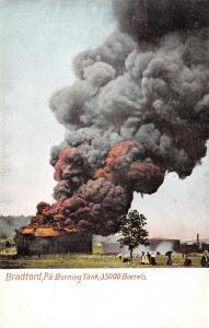 Bradford Pennsylvania~Burning Oil Tank~Victorian Ladies Out to Watch~c1908 PC