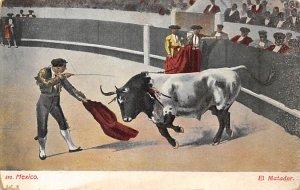 El Matador Tarjeta Postal Bullfighting Pink stain on back