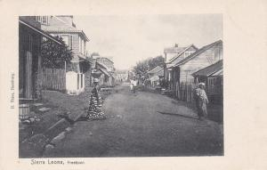FREETOWN, Sierra Leone, Africa, 1900-1910s; Street View, Native Women Walking
