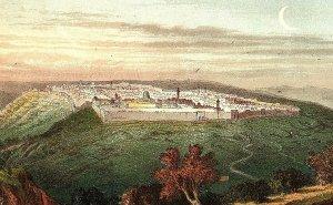 1880's Lovely Bird's Eye View Jerusalem, Mount Olives, Victorian Bible Card P134