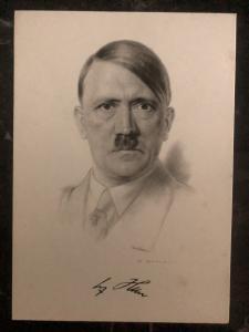 1937 Hamburg Germany picture Postcard PPC cover the fuhrer Hitler portrait