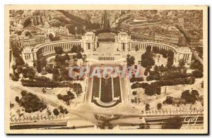 Old Postcard Paris and his wonderful panorama of the Chaillot Palace view fro...
